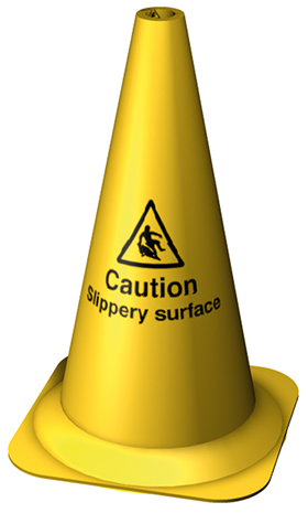 Yellow caution slippery surface 495mm cone sign