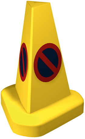 Yellow no parking cone red and blue symbol sign