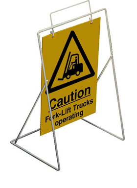 Caution fork lift trucks operating requires st4 or st1 frame sign