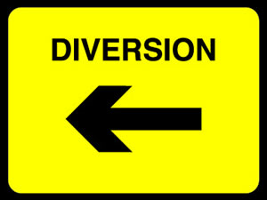 Diversion right sign. sign