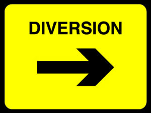 Diversion left sign. sign
