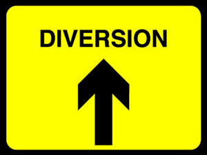 Diversion ahead sign. sign