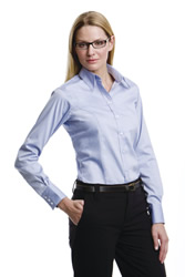 Kustom Kit Ladies Long Sleeve Oxford Shirt