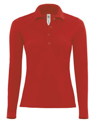 B and C Safran Pure Womens Long Sleeve Polo Shirt