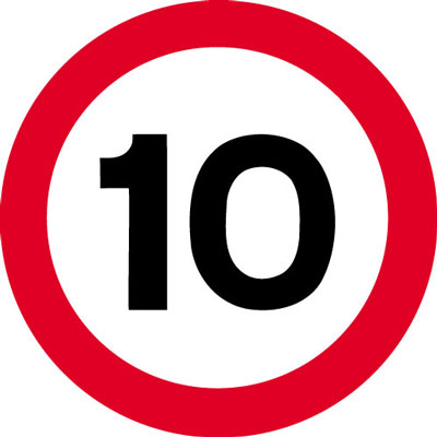 Speed limit signs - 600 mm 10 MPH CLASS 2 reflective 3 mm aluminium signs.