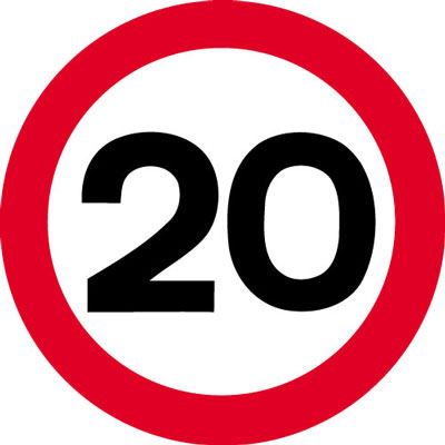 Speed limit signs - 600 mm 20 MPH CLASS 2 reflective 3 mm aluminium signs.