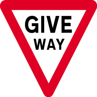 Give Way Signs - 600 x 680 mm give way CLASS 2 reflective 3 mm aluminium signs.