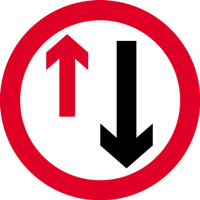 Road traffic signs - 600 mm priority to oncoming traffic CLASS 2 reflective 3 mm aluminium signs.