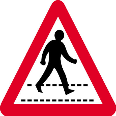 Road Crossing Signs - 600 x 680 mm triangular pedestrian crossing CLASS 2 reflective 3 mm aluminium signs.