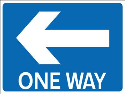 One Way Signs - 450 x 600 mm one way left CLASS 2 reflective 3 mm aluminium signs.