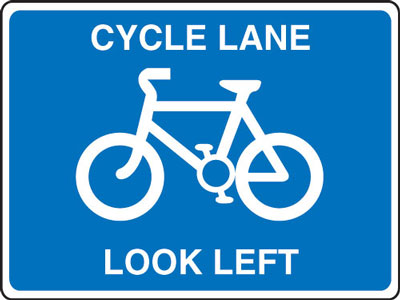Cycle signs - 600 x 800 mm cycle lane look left CLASS 2 reflective 3 mm aluminium signs.