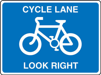 Cycle signs - 600 x 800 mm cycle lane look right CLASS 2 reflective 3 mm aluminium signs.