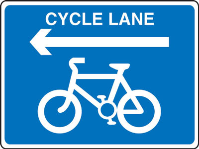 Cycle signs - 600 x 800 mm cycle lane arrow CLASS 2 reflective 3 mm aluminium signs.