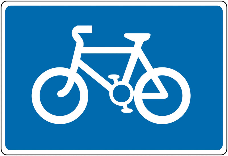 Cyclist signs - 375 x 550 mm cycle route CLASS 2 reflective 3 mm aluminium signs.