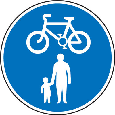 Out signs - 600 mm cycle and pedestrian route CLASS 2 reflective 3 mm aluminium signs.