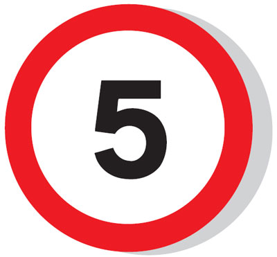 Speed limit signs - 600 mm 5 MPH CLASS 1 reflective 3 mm aluminium signs.