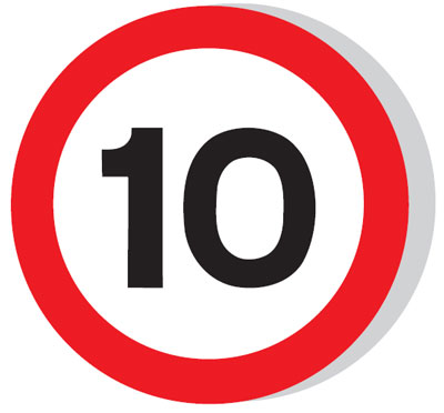 Speed limit signs - 600 mm 10 MPH CLASS 1 reflective 3 mm aluminium signs.