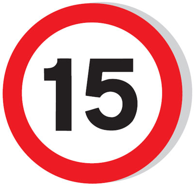 Speed limit signs - 600 mm 15 MPH CLASS 1 reflective 3 mm aluminium signs.