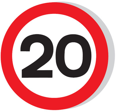 Speed limit signs - 600 mm 20 MPH CLASS 1 reflective 3 mm aluminium signs.