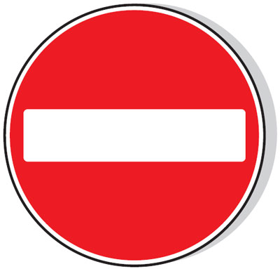 Reflective Road traffic signs - 600 mm no entry class 1 reflective 3 mm aluminium signs.