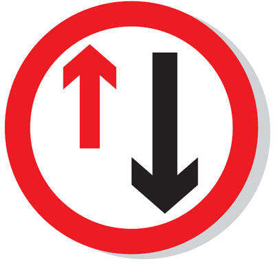 Reflective Road traffic signs - 600 mm priority to oncoming traffic class 1 reflective 3 mm aluminium signs.