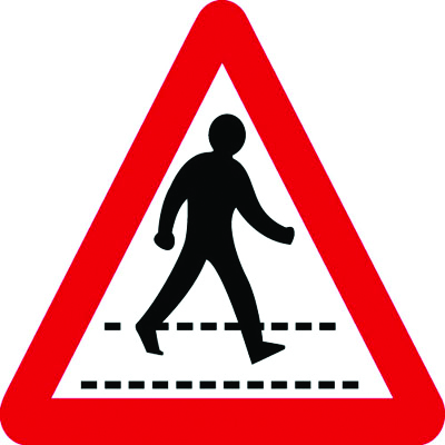 UK pedestrian signs - 600 x 680 mm triangular pedestrian crossing class 1 reflective 3 mm aluminium signs.