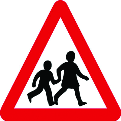 Reflective Road traffic signs - 600 x 680 mm children crossing class 1 reflective 3 mm aluminium signs.