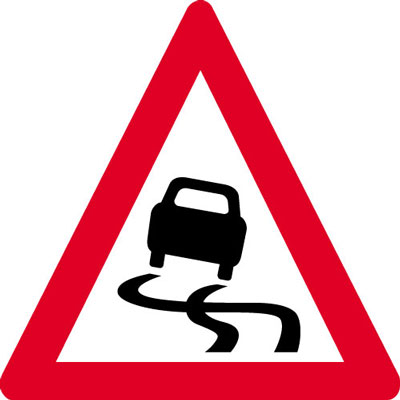 Reflective Road traffic signs - 600 x 680 mm slippery road surface class 1 reflective 3 mm aluminium signs.