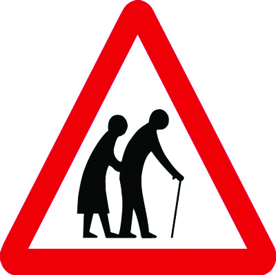 Reflective Road traffic signs - 600 x 680 mm elderly people crossing class 1 reflective 3 mm aluminium signs.