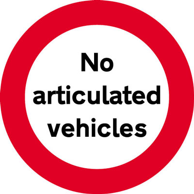 Reflective Road traffic signs - 600 mm no articulated vehicles class 1 reflective 3 mm aluminium signs.