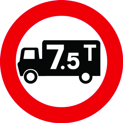Reflective Road traffic signs - 600 mm no goods vehicles over 7.5 ton class 1 reflective 3 mm aluminium signs.