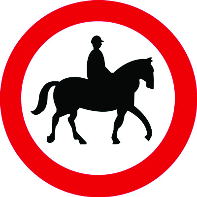 Reflective Road traffic signs - 600 mm no horses class 1 reflective 3 mm aluminium signs.
