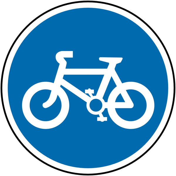 Reflective Road traffic signs - 600 mm cycle route class 1 reflective 3 mm aluminium signs.