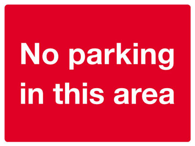 Reflective Road traffic signs - 450 x 600 mm no parking in this area class 1 reflective 3 mm aluminium signs.