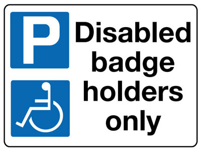 Reflective Road traffic signs - 450 x 600 mm disabled badge holders only class 1 reflective 3 mm aluminium signs.