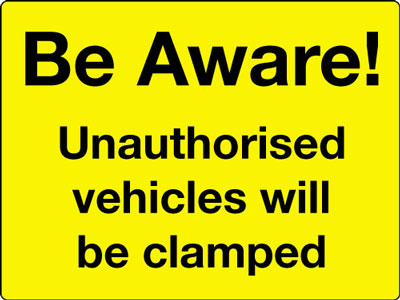 Reflective Road traffic signs - 450 x 600 mm be aware unauthorised vehicles class 1 reflective 3 mm aluminium signs.