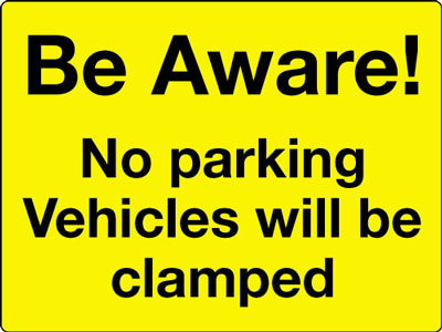 Reflective Road traffic signs - 450 x 600 mm be aware no parking class 1 reflective 3 mm aluminium signs.