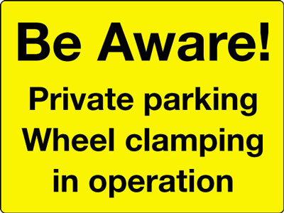 Reflective Road traffic signs - 450 x 600 mm be aware private parking class 1 reflective 3 mm aluminium signs.