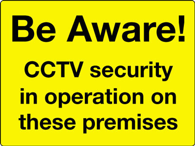Reflective Road traffic signs - 450 x 600 mm be aware cctv security in class 1 reflective 3 mm aluminium signs.