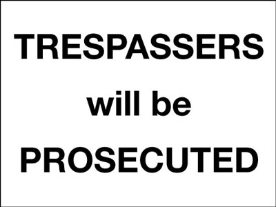 Reflective Road traffic signs - 450 x 600 mm trespassers will be prosecuted class 1 reflective 3 mm aluminium signs.