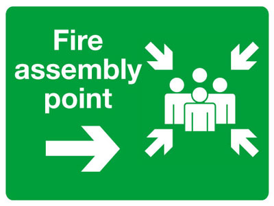 Reflective Road traffic signs - 450 x 600 mm fire assembly point right class 1 reflective 3 mm aluminium signs.
