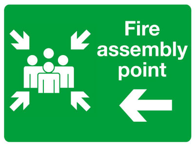 Reflective Road traffic signs - 450 x 600 mm fire assembly point left class 1 reflective 3 mm aluminium signs.
