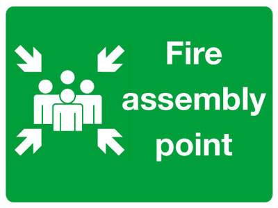 Reflective Road traffic signs - 450 x 600 mm fire assembly point class 1 reflective 3 mm aluminium signs.