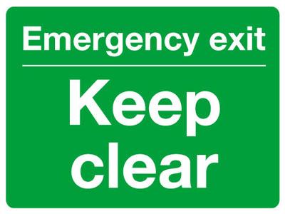 Reflective Road traffic signs - 450 x 600 mm emergency exit keep clear class 1 reflective 3 mm aluminium signs.