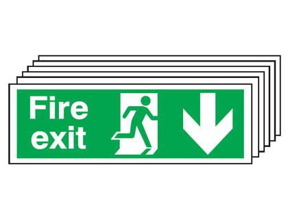 Multi pack fire signs & labels - 150 x 300 mm fire exit man arrow down self adhesive vinyl labels 6 pack.