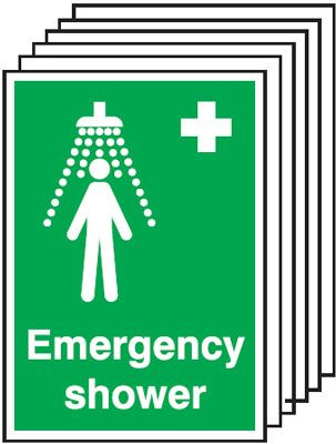 Multi pack emergency shower signs & labels -  A5 emergency shower self adhesive vinyl labels 6 pack