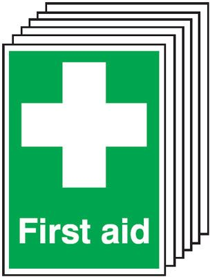 Multi pack first aid signs & labels -  A5 first aid self adhesive vinyl labels 6 pack