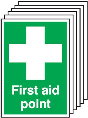 Multi pack first aid signs & labels -  A3 first aid point self adhesive vinyl labels 6 pack.
