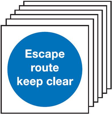 Multi pack Fire exit signs & labels -  150 x 150 mm escape route keep clear self adhesive vinyl labels 6 pack