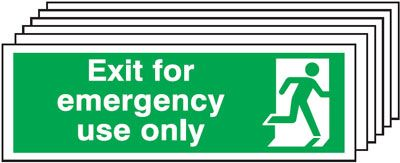 Multi pack Fire exit signs & labels -  150 x 450 mm exit for emergency use only self adhesive vinyl labels 6 pack.